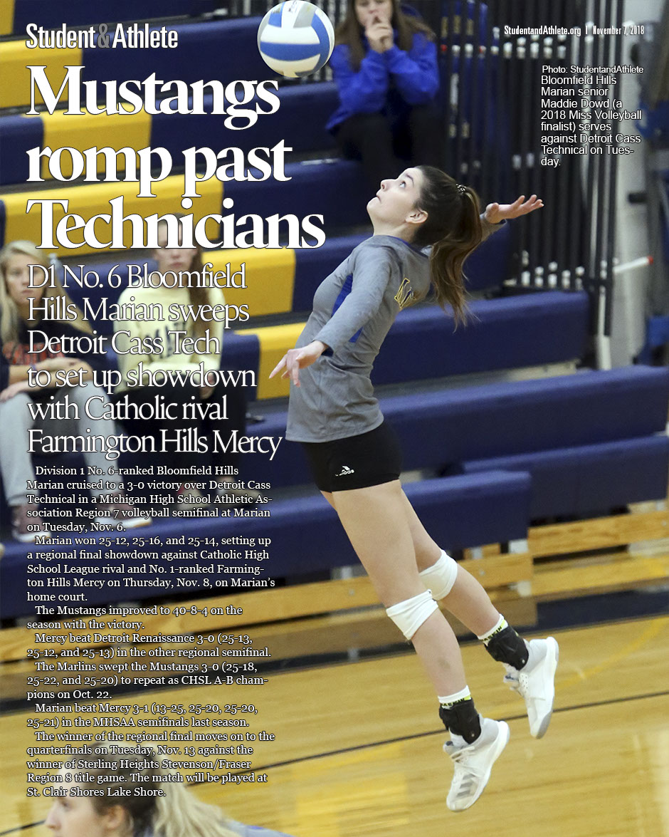 Volleyball: Bloomfield Hills Marian beats Detroit Cass Technical 3-0 on Tuesday, Nov. 6, 2018